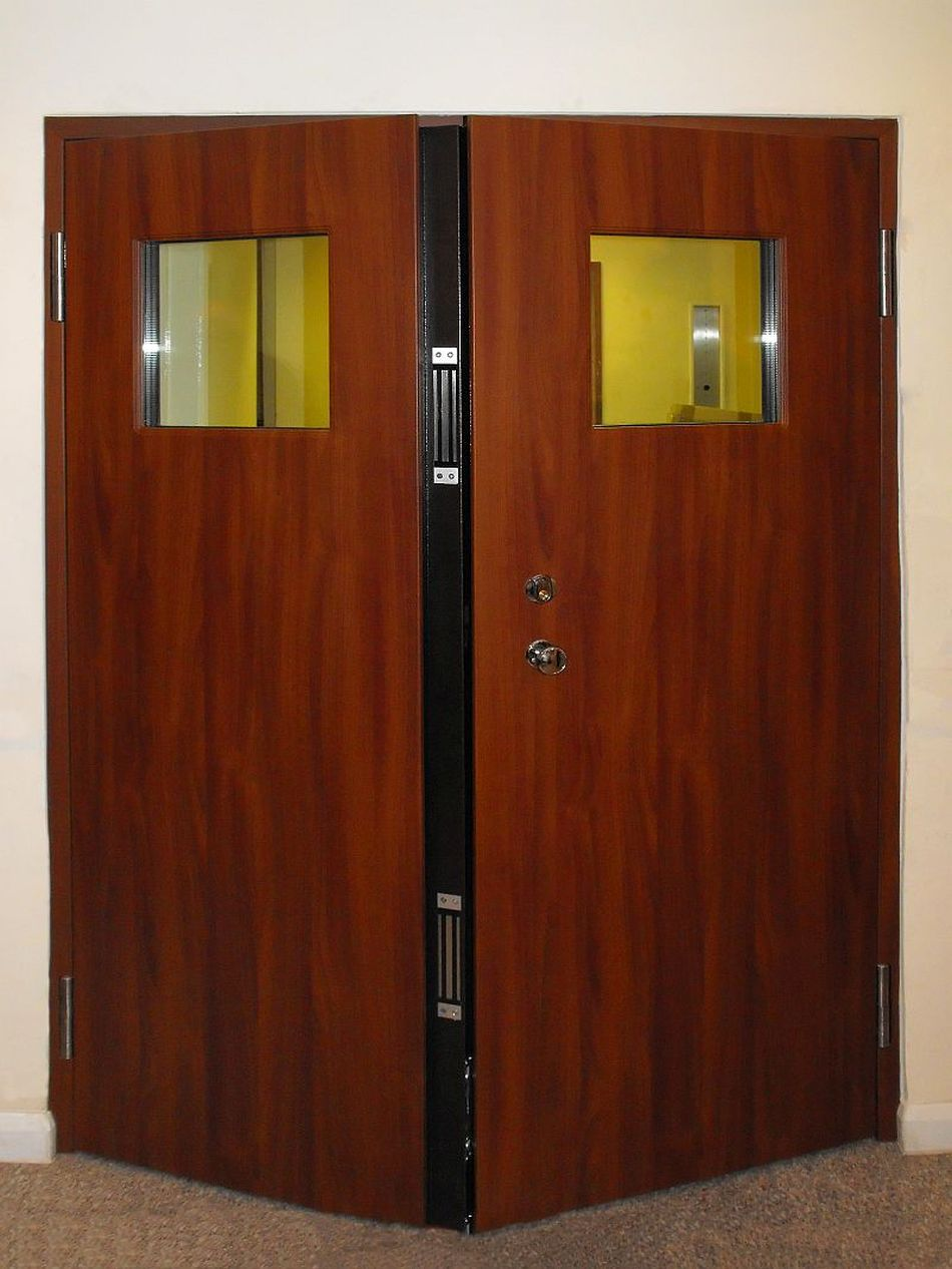 Double Leaf Entrance Door With Magnetic Locks For High Security
