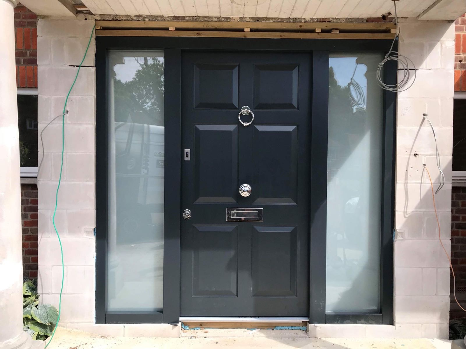 Fort Security Contemporary Door With Fingerprint Reader And 2 Large Side Glazed Panels