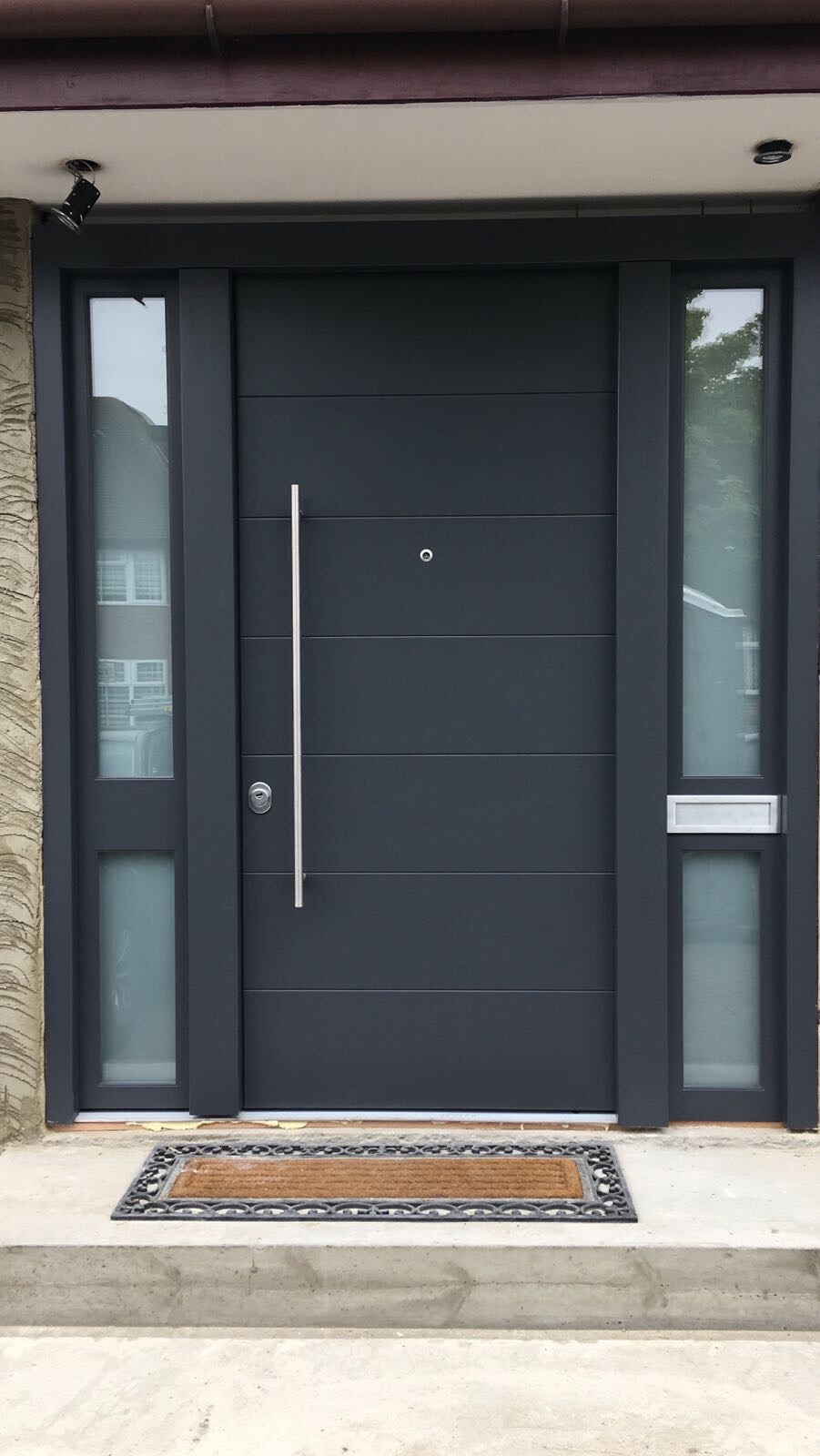 Fort Security Contemporary Entrance Door With 2 Glazed Side Panels