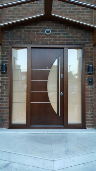 Fort Security Contemporary Front Door With 2 Glazed Side Panels And Semi Circle Glass On Door
