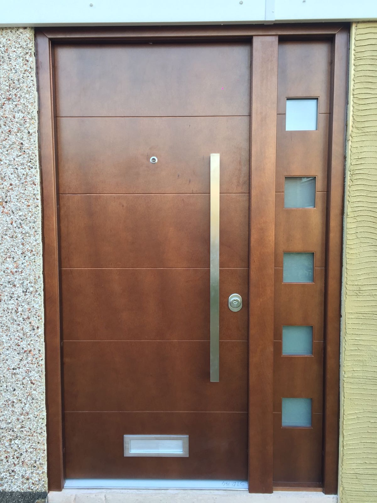 Fort Security Contemporary Front Door With Okume Wood Finish And 1 Glazed Side Panel
