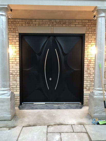 Fort Security Contemporary Front Door With Curved Metal Handles