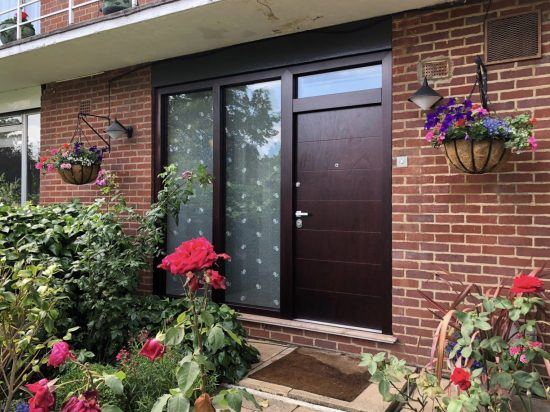 Fort Security Front Door In Okume Wood With Large Side Glass And Transom