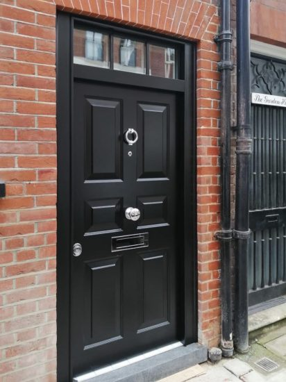 Fort Security Front Door In Black With Rectangular Transom