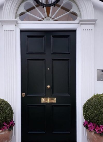 Fort Security Front Door In Matte Black And Decorative Transom