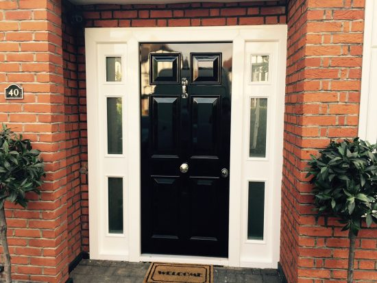 Fort Security Front Door With 2 Glazed Side Panes And Silver Finish