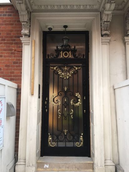 Fort Security Replica Stainless Steel Front Door With Gold Trim And Transom Installed 2