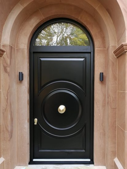Fort Security Single Front Door With Circular Design And Arched Transom