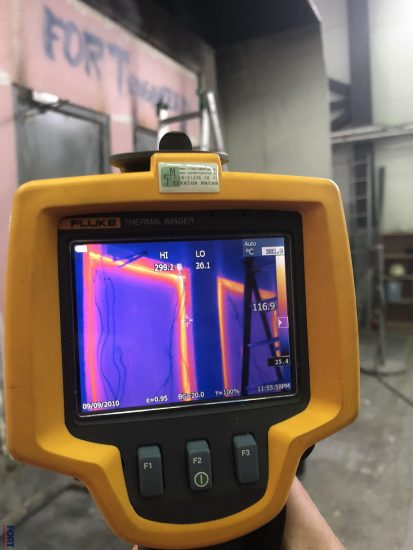 Fort Security Viewing Fire Resistance Test Through Thermanl Camera