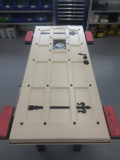 Fort Security White Replica Front Door With Black Studs In Assembly Area 2
