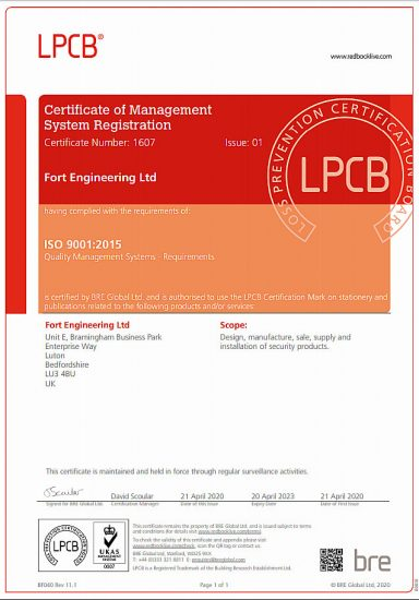 Certificate Of Management System Registration Fort Engineering Lpcb